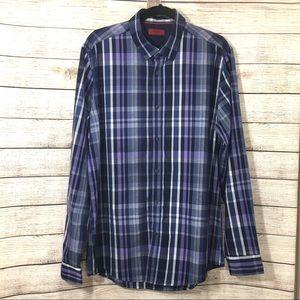Alfani Slim Fit Blue Plaid Button Down Shirt Large